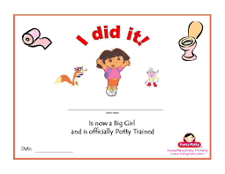 potty training certificates potty training concepts printable dora the explorer potty training certificate for girls