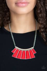 Glamour <b>Goddess</b> - <b>Red & Silver</b> Necklace - Paparazzi Accessories