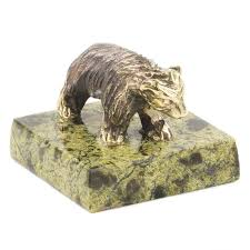 <b>Статуэтка</b> Медвежонок змеевик бронза 35x35x30 мм 50 гр ...
