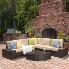 brown wicker outdoor furniture dresses: santa cruz outdoor brown wicker sofa set by christopher knight home