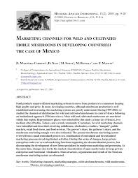 (PDF) Marketing <b>channels for</b> wild and cultivated edible mushrooms ...