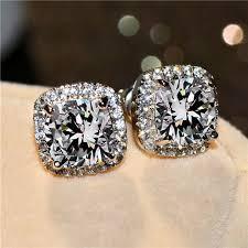 Buy <b>Female Crystal Zircon Stone</b> Earrings 925 Sterling Silver Online ...