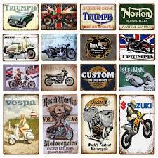Historic US Route 66 <b>Motorcycle</b> Poster Wall Sticker <b>Vintage Metal</b> ...