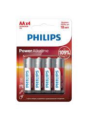 <b>Батарейки</b> Power Alkaline (<b>AA</b>) LR6P4B/51, <b>4</b> шт <b>Philips</b> 7578733 ...