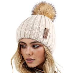 FURTALK <b>Womens Winter Knitted</b> Beanie Hat with Faux Fur Pom ...