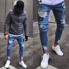 Online Shop <b>Men's</b> Fashion Vintage <b>Ripped</b> Jeans Super Skinny ...