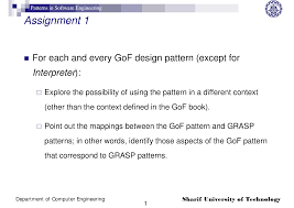 gof design pattern patterns in software engineering assignment 1 the document