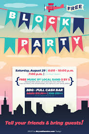 block party flyer poster design template open house events block party flyer poster design template