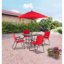 patio table and 6 chairs: red folding patio furniture with  person patio chairs and two vases installed full