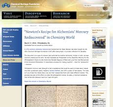 isaac newton darin hayton original chf webpage excerpting chemistry world article