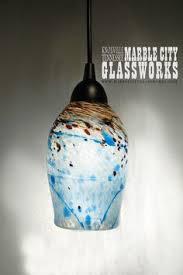 blue speckled hand blown glass pendant light unique lighting artisan lights blown glass pendant lighting