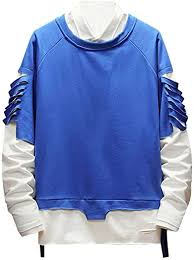 Zilosconcy Hoodies Fake Two-Piece <b>Man</b> Tracksuits <b>Men's</b> Simple ...