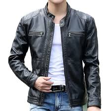 <b>Men's</b> leather Jacket design stand collar Coat <b>Men casual</b> ...