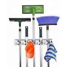 Home- It Mop and Broom <b>Holder</b>, 5 Position with <b>6 Hooks</b> Garage