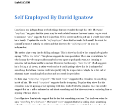 language analysis essays  wwwgxartorg language analysis of quot self employed quot by david ignatow gcse document image preview