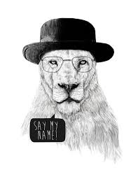 say my name lion hat breaking bad series show cool awesome black and white art illustration awesome black white