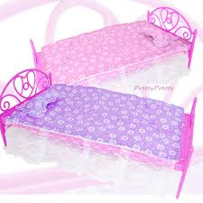 free shipping two set doll accessories pink purple mini doll bed furniture for barbie doll house barbie doll house furniture sets