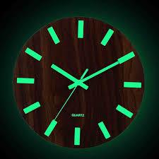 <b>12 Inch Luminous</b> Wall Clock Wood Silent light in dark night Nordic ...