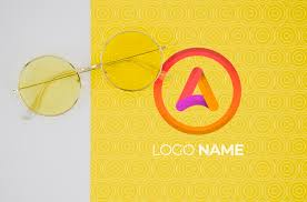 Free PSD | <b>Summer glasses</b> with logo name design