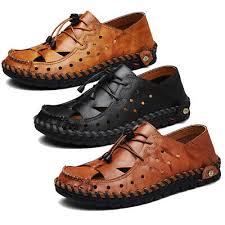 <b>Men's</b> Breathable <b>Hand Stitching</b> Leather <b>Sandals</b> Adjustable ...