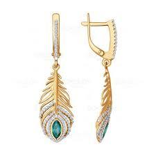 Золотые <b>серьги</b> «<b>Перо павлина</b>» | Gold jewelry earrings, Ear ...