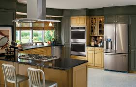 black and stainless kitchen ge profilea series kitchen with green and wood cabinets and stainless steel appliances