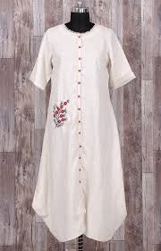 Beautiful Linen Kurta with embroidery and buttons detailing. | Kurtis ...