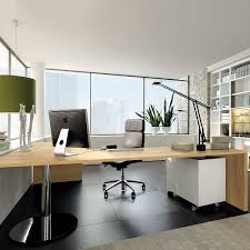 black squre floor tile brown wooden painted office table black office chairs computer standing desk lamps accessories home office tables chairs paintings
