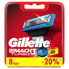 <b>Сменные кассеты</b> для бритья <b>Gillette Mach3</b> Turbo 3D, 8 шт ...