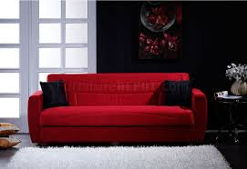 living room furniture miami: elegant red microfiber living room with storage sleeper sofa