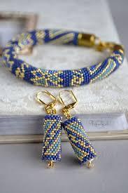 Комплект Oriental, <b>браслет</b>, серьги из бисера, синий, золотой ...