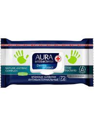<b>Влажные салфетки Aura</b> Антибактериальные <b>Derma</b> Protect ...