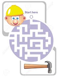 maze game for kids help the builder the way to the hammer maze game for kids help the builder the way to the hammer stock