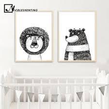 Nordic Decoration <b>Cartoon</b> Lion <b>Bear Posters</b> and <b>Prints</b> Canvas ...