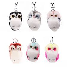<b>15CM</b> Cute Fluffy Owl <b>Keychain</b> Pendant <b>Rabbit Fur</b> Pompoms ...