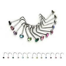 <b>20pcs</b>/<b>lot</b> Stainless <b>Steel Crystal</b> Nose Studs Rings Hooks Bar Pin ...