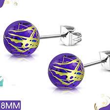 <b>Stainless</b> Steel Art Paint <b>Black</b> Acrylic Bead Ball 2 Color Stud ...