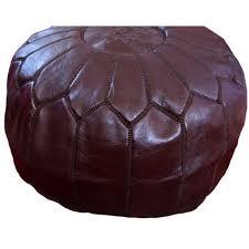 Pouf design Moroccan <b>leather</b> chocolate colour <b>handmade genuine</b> ...