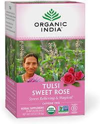 Organic India <b>Tulsi</b> Caffeine Free <b>Tea</b>, <b>Sweet Rose</b>, 18 Count ...