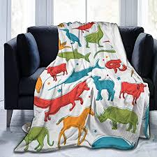 July <b>Dinosaur Print</b> Flannel Fleece Blanket <b>Air</b>-Conditioning Blanket ...