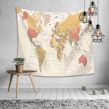 <b>SOFTBATFY</b> World Map Tapestry Polyester Wall Hanging Art Home ...