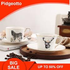 <b>Nordic</b> style zebra elk <b>bone</b> china coffee cup and saucer sets ...