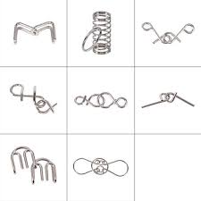 <b>8Pcs</b>/Set Metal Wire IQ Test Spirit Brain Teaser Mind Puzzles <b>Game</b> ...