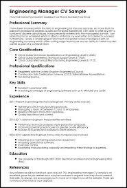 engineering manager cv sample   curriculum vitae builderengineering manager cv sample