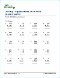 Grade 3 Addition Worksheets - free & printable | K5 LearningGrade 3 Addition Worksheet Printable