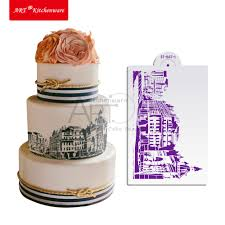 wholesale stencil style red plastic new mexico style building stencil wedding designs cake stencilcity cuc