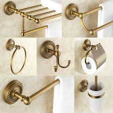Bathroom Hardware Set Antique <b>Brass</b> Robe Hook <b>Towel Rail Rack</b> ...