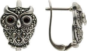 Серебряные серьги ''Сова'' <b>Марказит</b> HE706-<b>mr</b> с гранатами ...