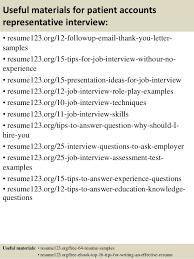 top  patient accounts representative resume samples       useful materials for patient accounts representative