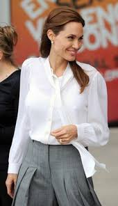 england style steps: celebrity style angelina jolie wearing a michael kors scarf neck silk blouse to the